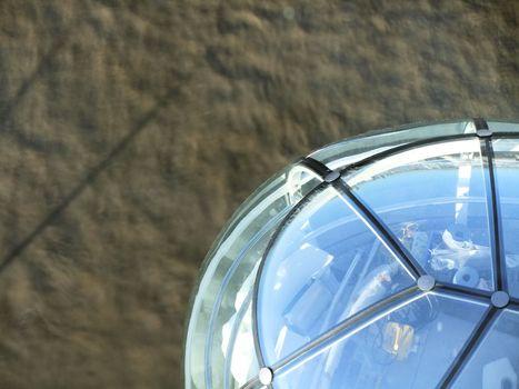 Looking down on capsule on london eye