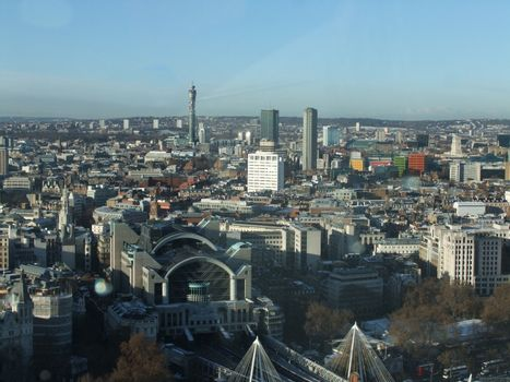 Panoramic view from london eye including post office tower