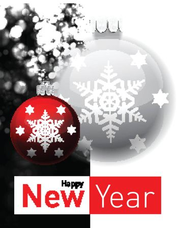 Defocused abstract background with Christmas balls illustration