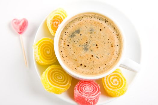 Cappuccino with candies