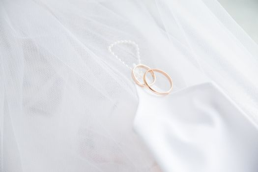 Wedding rings with glove on veil