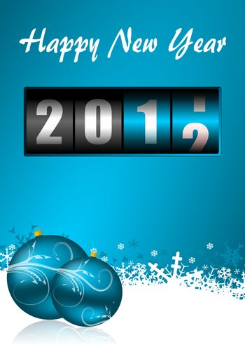 happy new year illustration with counter and christmas balls
