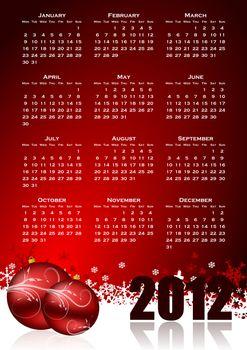 calendar for 2012 year