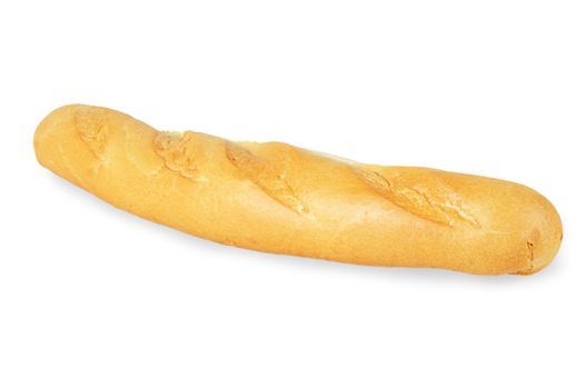 Small baked baguette. Isolated on white background