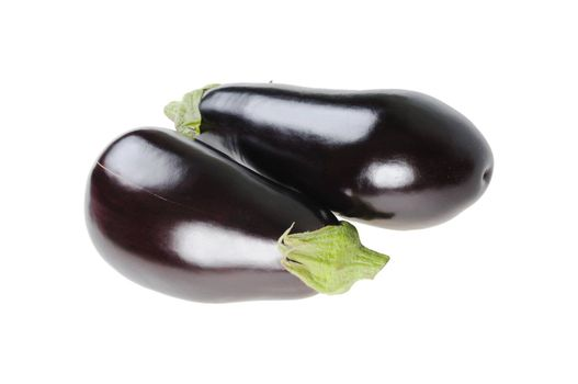 Two raw eggplant. Isolated on white background
