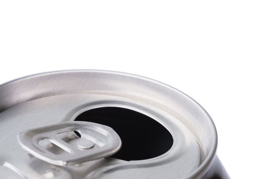 Opened aluminum can for soft drinks or beer. Macro. Isolated on white.