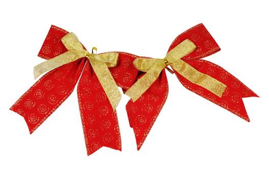 Festive decoration - ribbon and bow. Isolated on white.