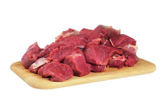 The sliced mutton, lying on a wooden board. Isolated on white