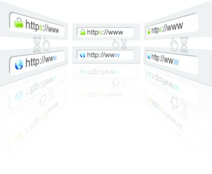 Secure web connection on a web browser in different view