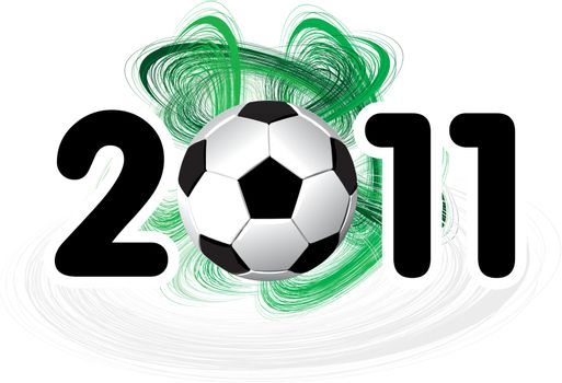 Big 2011 soccer ball on a white background