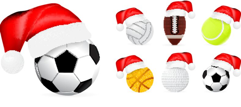 Santa hat on sport balls isolated on white background