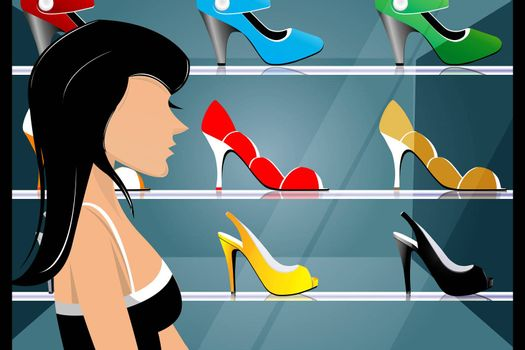 illustration of lady looking at fashionable footwears