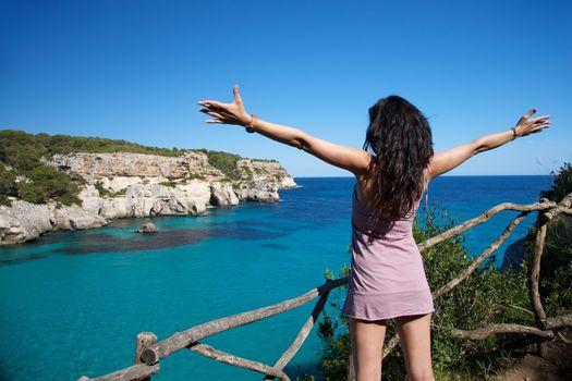 woman happy on paradise