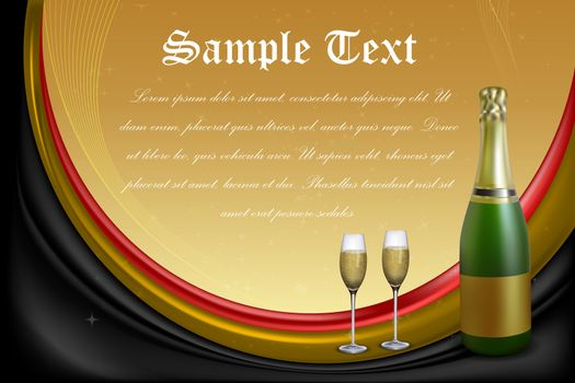illustration of celebration card with wine