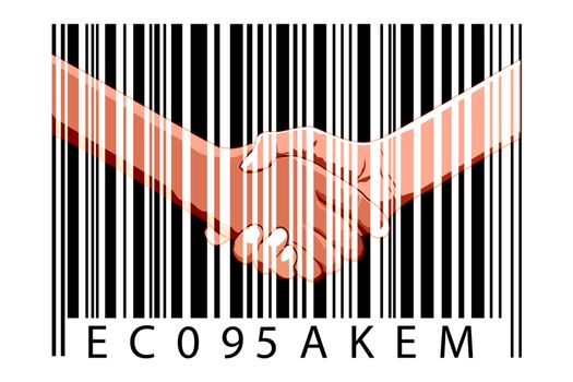 illustration of business deal with bar code on white background