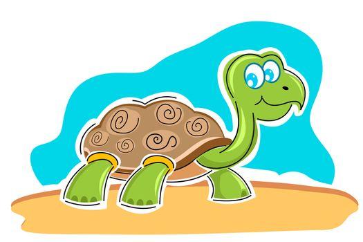 illustration of happy tortoise on white background