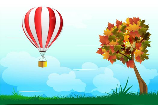 illustration of parachute with tree