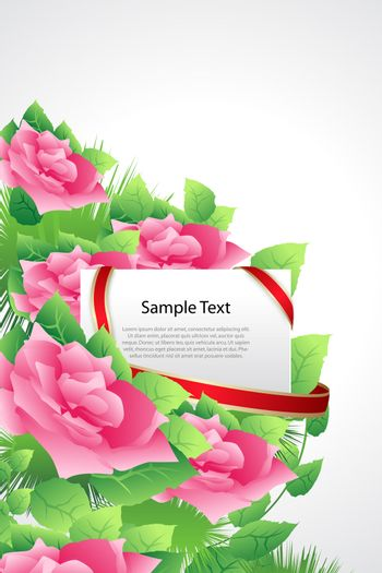 illustration of valentine card with roses