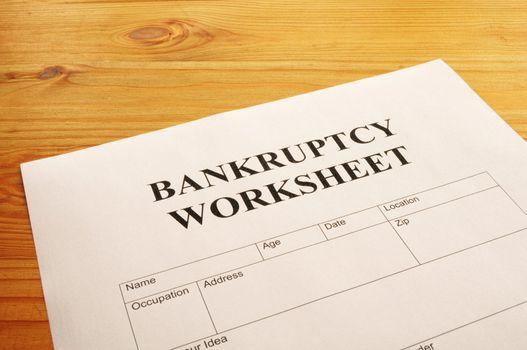 bankruptcy worksheet form or document showing business concept