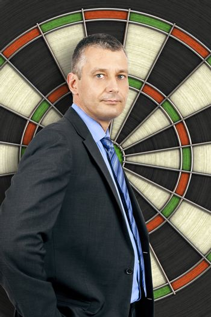 business man dartboard