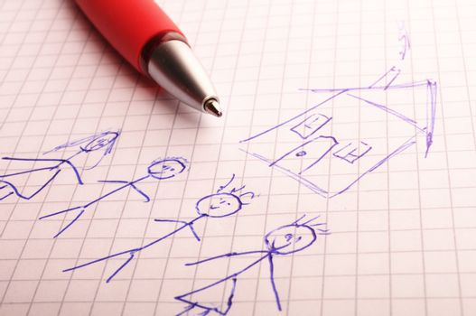 real estate concept with young family and house drawing