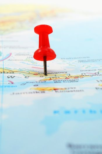 pin and map with copyspace showing travel concept