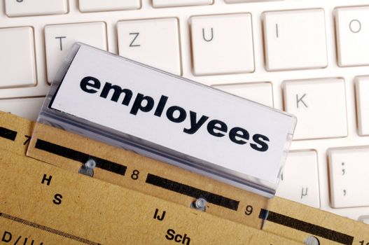 employess word on business office folder shopwing job hiring or work concept