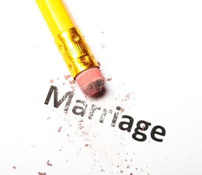 divorce concept with marriage word pencil and eraser