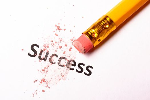 success or failure concept with word and eraser on white