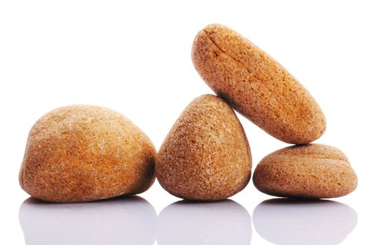 zen stones or pebbles isolated on white background