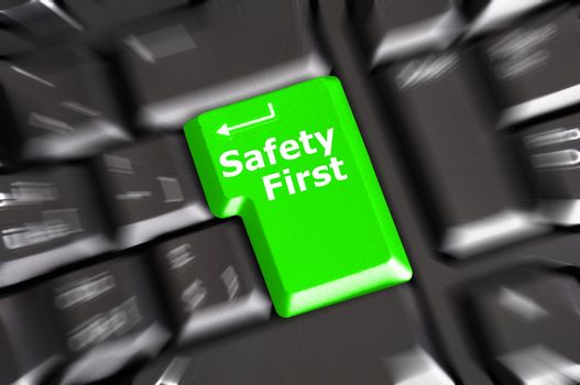 safety first concept with key showing risk danger or insurance