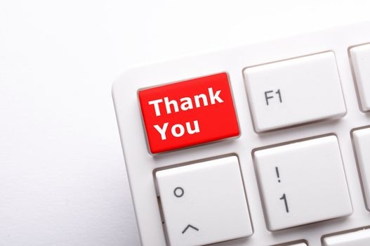 thanks or thank you concept with word on conputer key or button
