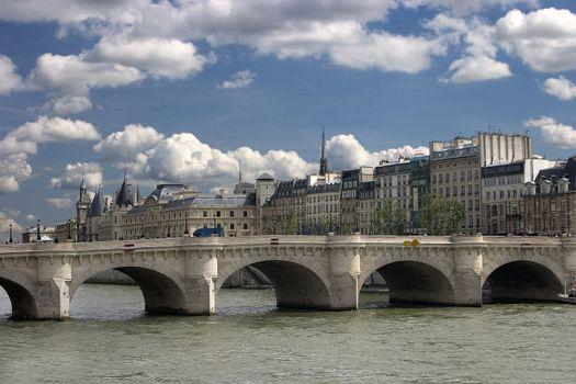 Paris monuments - bridge on the Seine and Palais de Justice