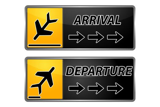 illustration of arrival and departure tags on white background