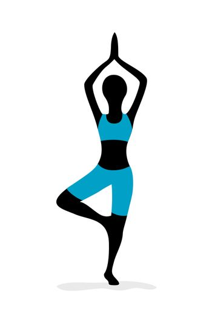 illustration of yoga girl on white background