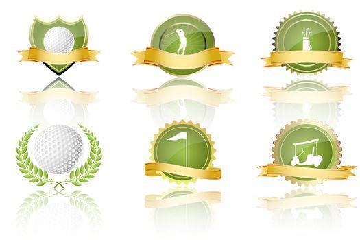 illustration of golf prizes on white background