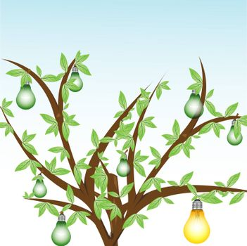 illustration of tree with electrical bulbs on white background