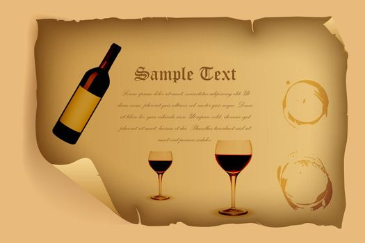 illustration of celebration card with wine and wine glass