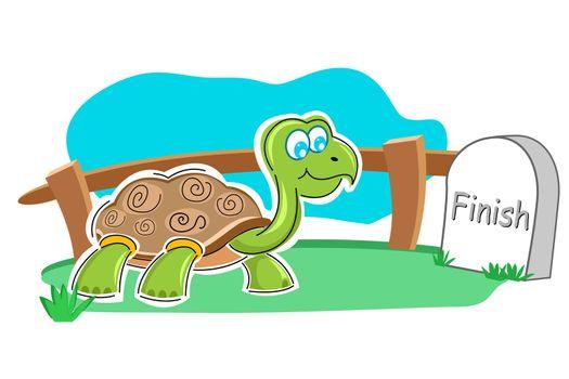 illustration of happy tortoise with finish stone