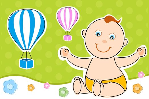 illustration of children's day card with baby and parachute