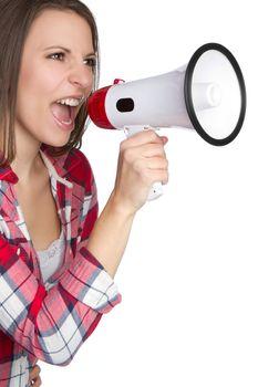 Beautiful woman yelling into megaphone