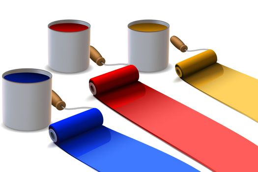 illustration of paint roller with drum on white background
