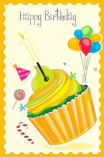 illustration of happy birthday card