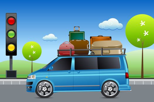 illustration of car in traffic with luggage with tree