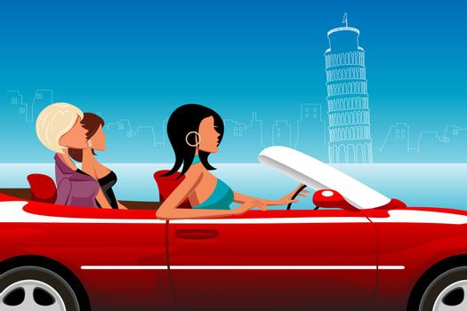 illustration of fashionable lady driving car