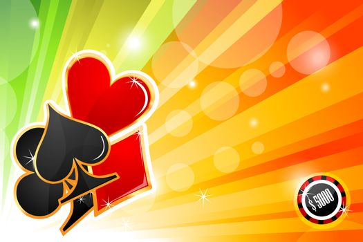 illustration of casino card on abstract colorful background