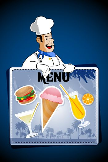 illustration of chef with junk foods on abstract background