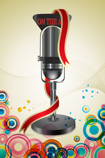 illustration of on the air text with mic on colorful background