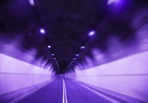 Driving fast in Tunnel and blur view