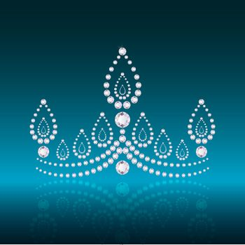illustration of diamond crown on abstract background